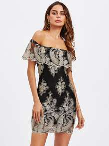 Off Shoulder Embroidered Contrast Mesh Layered Dress