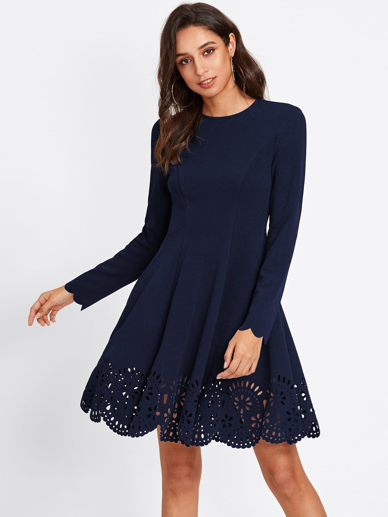 Scallop Laser Cut Hem Fit & Flare Dress scallop laser cut form fitting dress