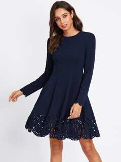 Scallop Laser Cut Hem Fit & Flare Dress