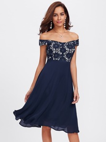 Guipure Lace Bodice Bardot Dress
