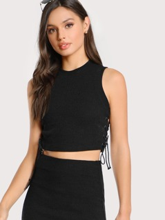 Lace Up Side Crop Tank Top
