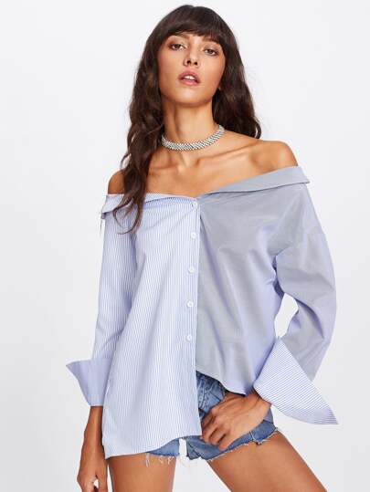 Overlap Back Mixed Stripe Off Shoulder Blouse