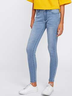 Bleached Wash Skinny Jeans
