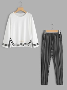Contrast Trim Top And Stripe Pants Pajama Set