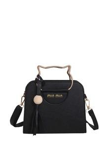 Tassel Detail Shoulder Bag With Cat Ear Handel