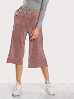 Ribbed Velvet Wide Leg Pants