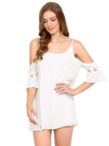 White Spaghetti Strap Lace Insert Dress