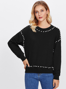 Pearl Beaded Dolman Pullover