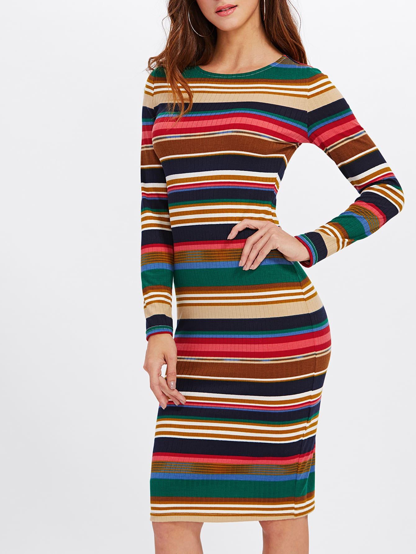 Rib Knit Colorful Striped Pencil Dress dress171016703