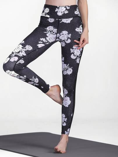 Flower Print Contrast Mesh Leggings