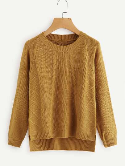 Dip Hem Cable Knit Sweater