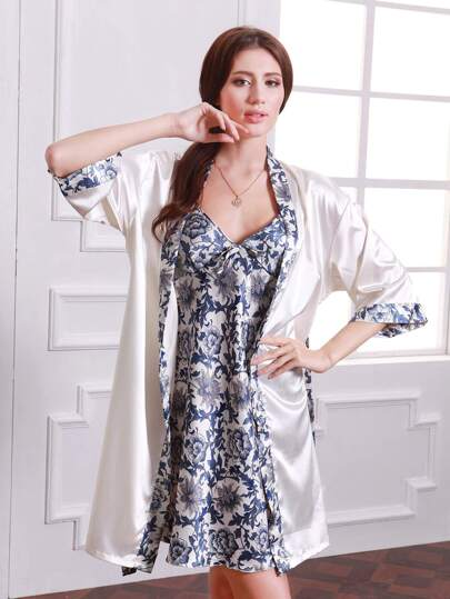 Allover Florals Cami Dress With Contrast Trim Robe