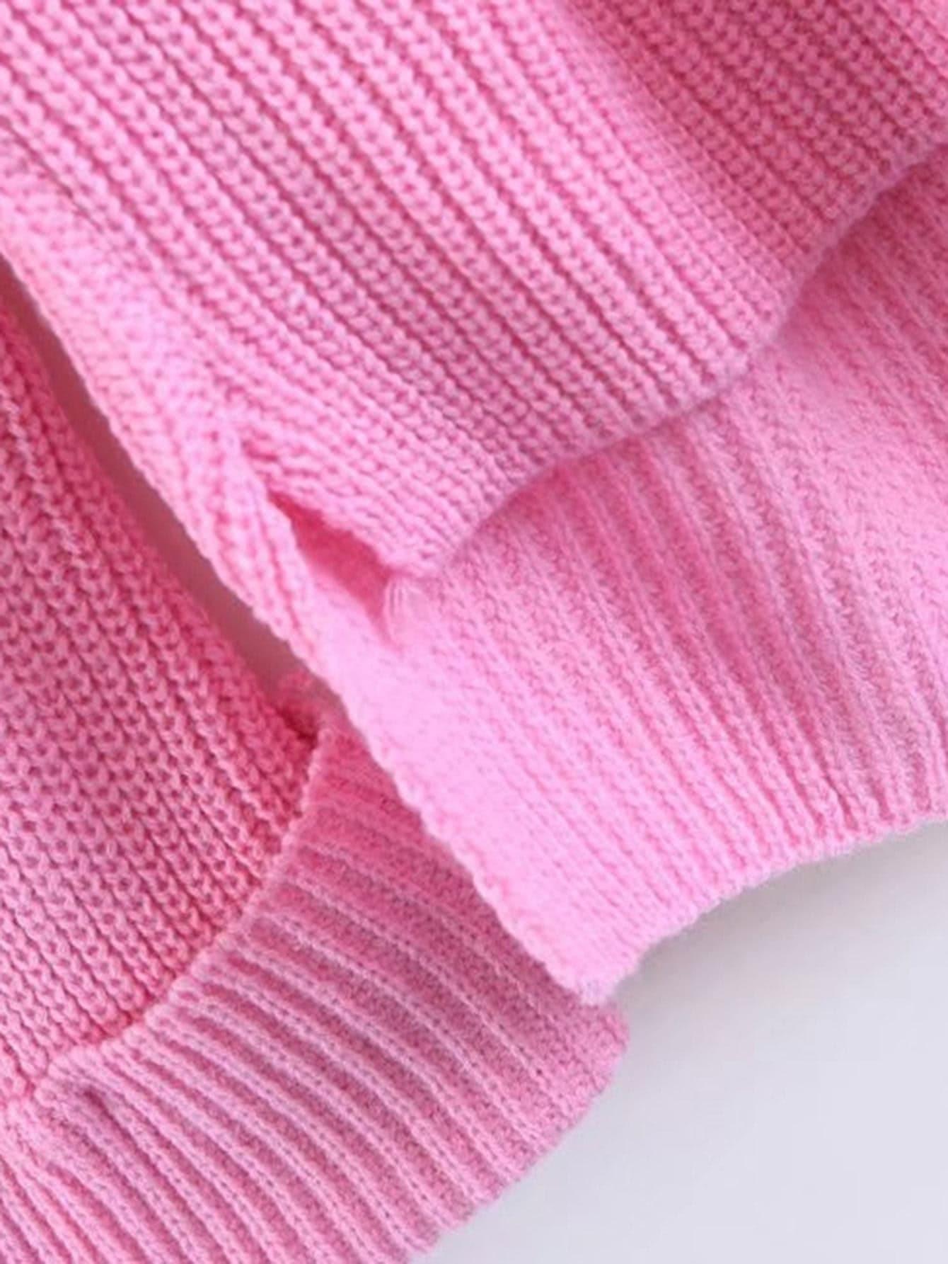 High Low Raglan Sleeve Cuffed Sweater