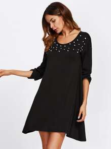 Pearl Embellished Swing Tee Dress