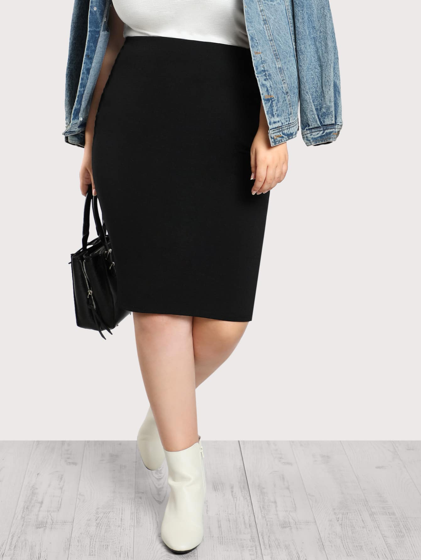 High Rise Vented Back Midi Skirt