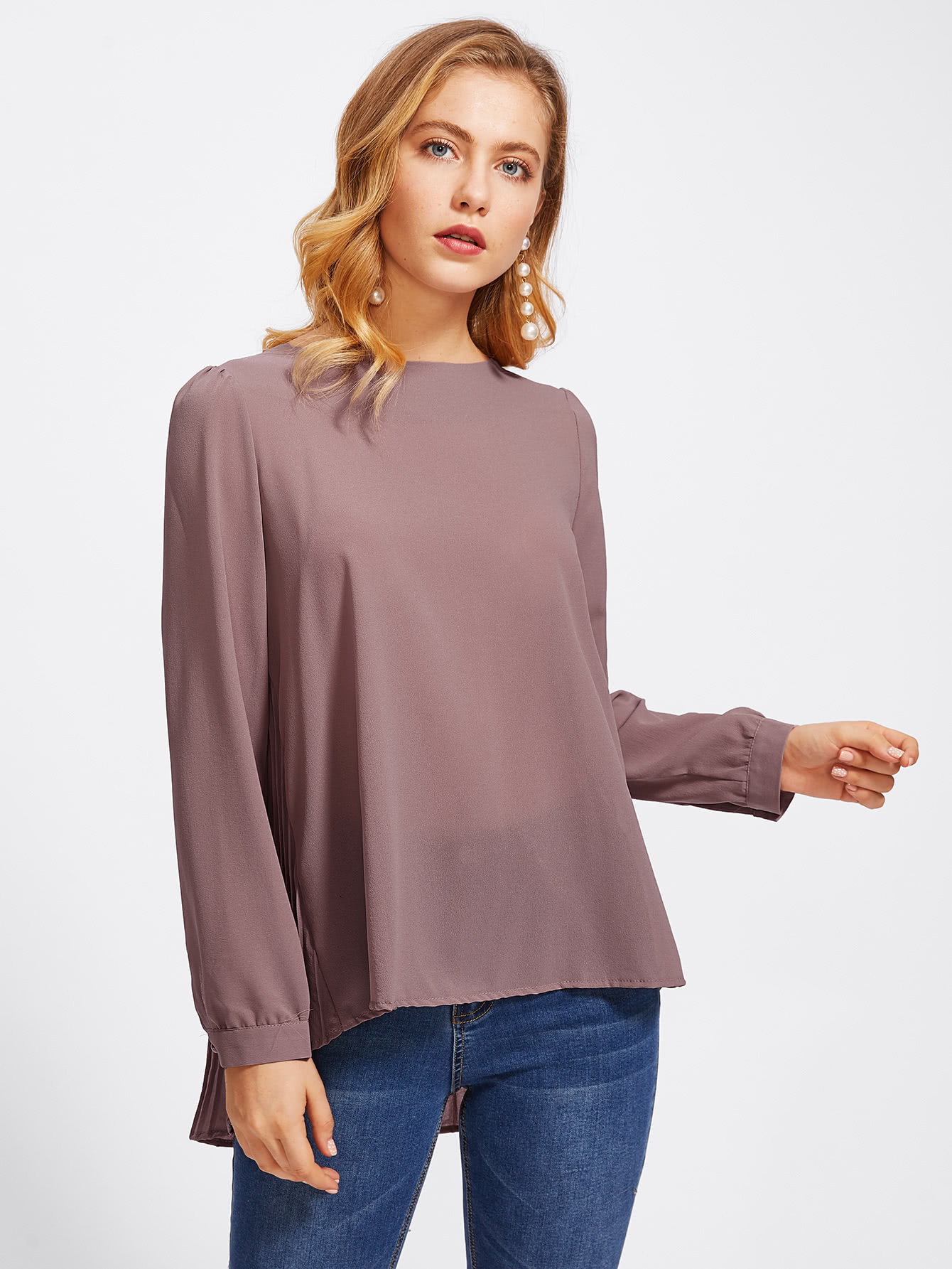 High Low Pleated Back Blouse blouse171030330