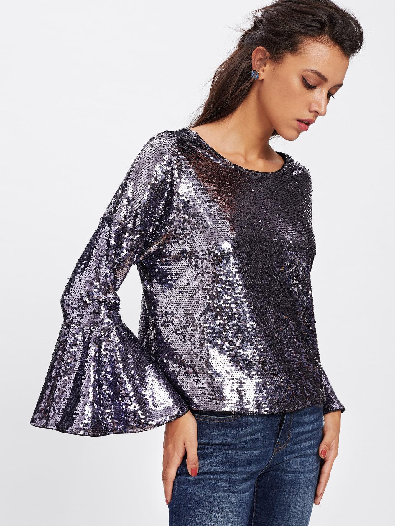 Drop Shoulder Trumpet Cuff Sequin Blouse blouse171031702