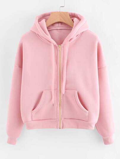 Hooded Drawstring Sweatshirt Jacket