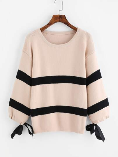 Drop Shoulder Tie Cuff Striped Sweater