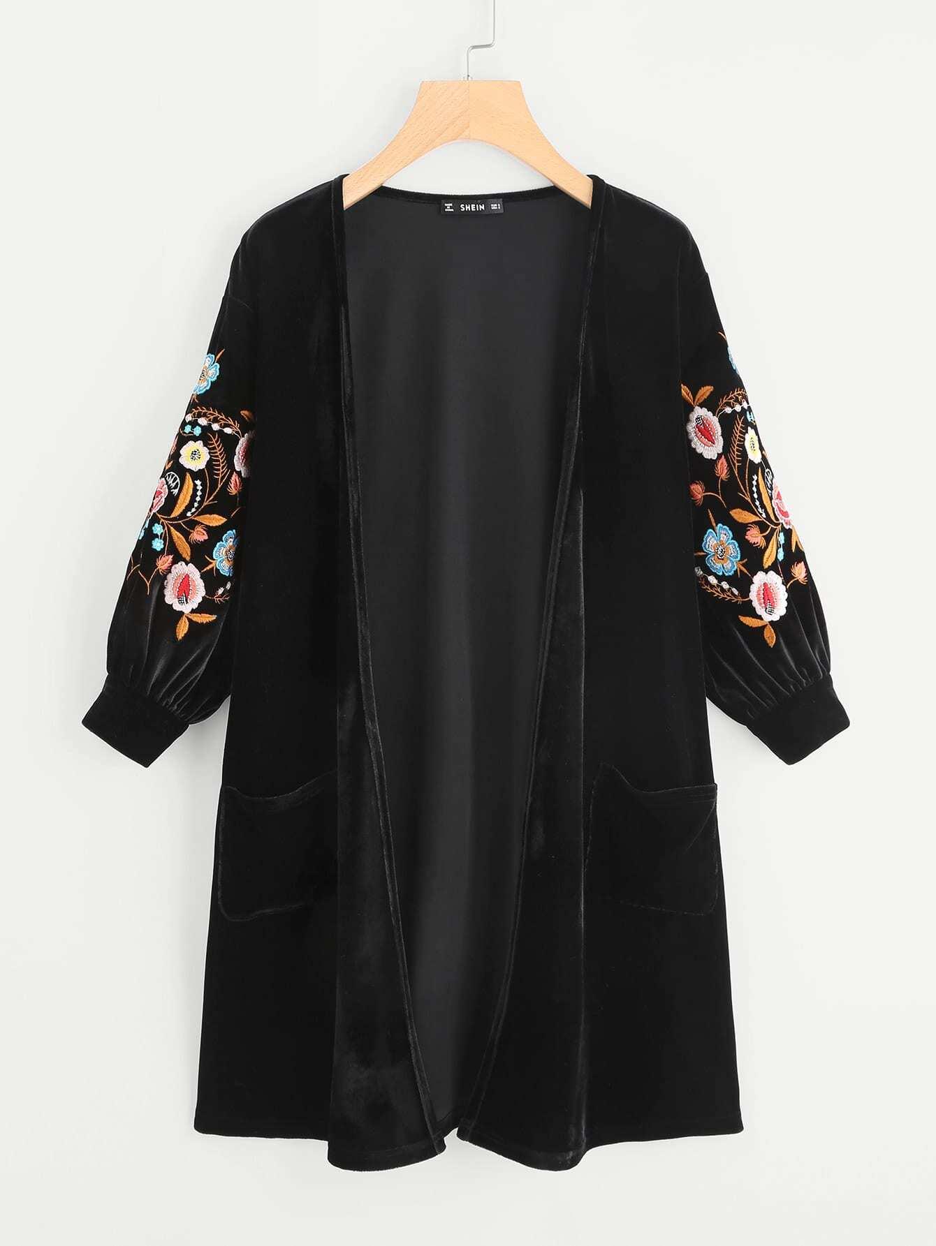 Embroidery Bishop Sleeve Open Front Velvet Cardigan keyhole front floral embroidery velvet dress