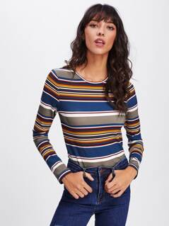 Color Striped Fitted Tee