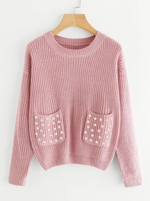Double Pockets Pearl Beaded Texture Knit Sweater