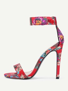 Jacquard Satin Ankle Strap Stiletto  Pumps