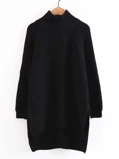 High Low Hem Longline Raglan Sweater