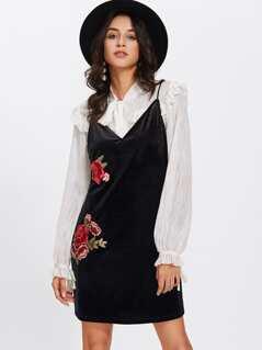 Embroidered Rose Patch Velvet Cami Dress