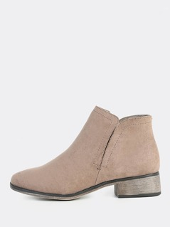 Faux Suede Toe Side Slit Booties TAUPE
