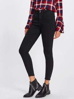 Rivet Detail Raw Hem Skinny Jeans
