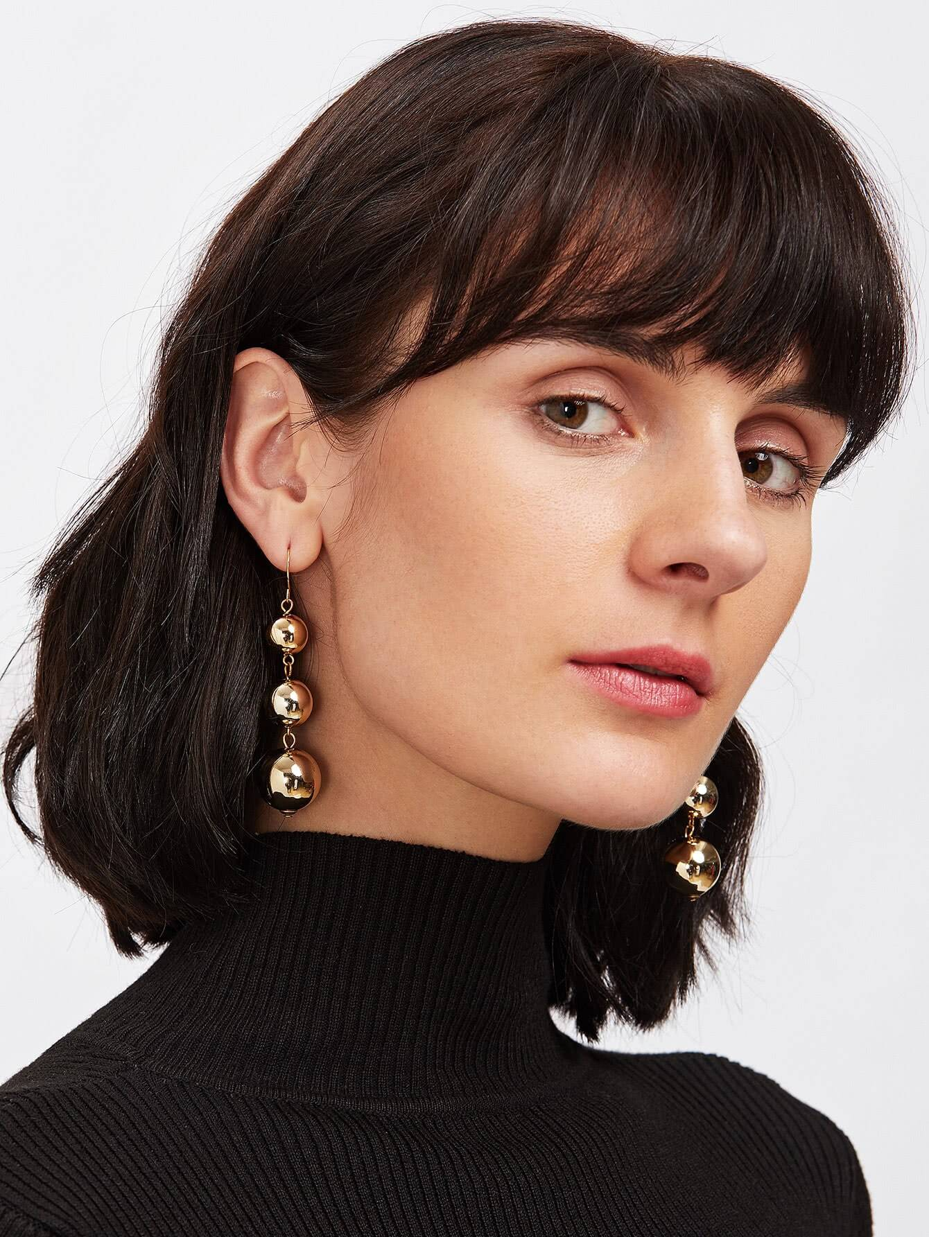 Metal Ball Design Drop Earrings earringer171011303