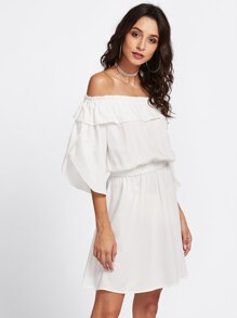 Overlap Sleeve Frill Off Shoulder Blouson Dress