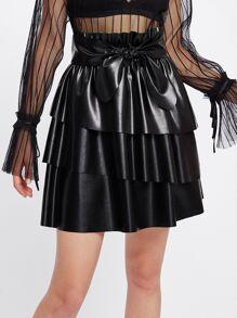 Flounce Tiered Bow Embellished PU Skirt