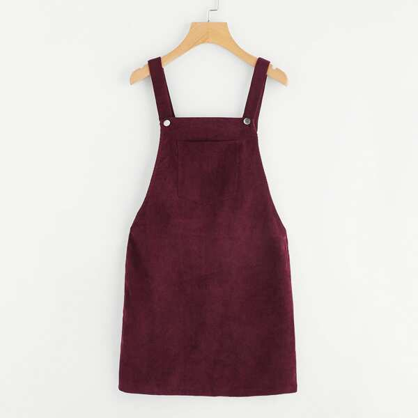 Pocket Front Overall Corduroy Dress, Burgundy