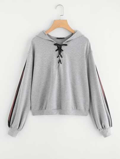 Striped Tape Sleeve Lace Up Heathered Hoodie