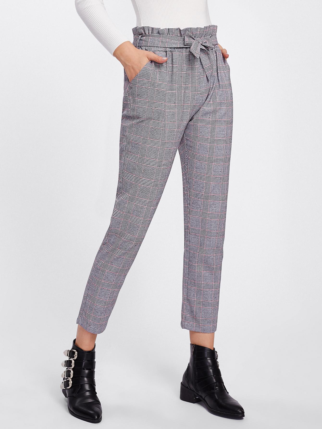 Купить Модные клетчатые брюки с оборкой и поясом, Zulcar, SheIn