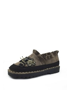 Beaded Bee Patch Frill Trim Suede Flats