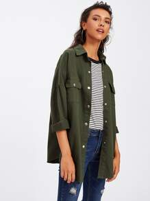 Drop Shoulder Curved Hem Jacket