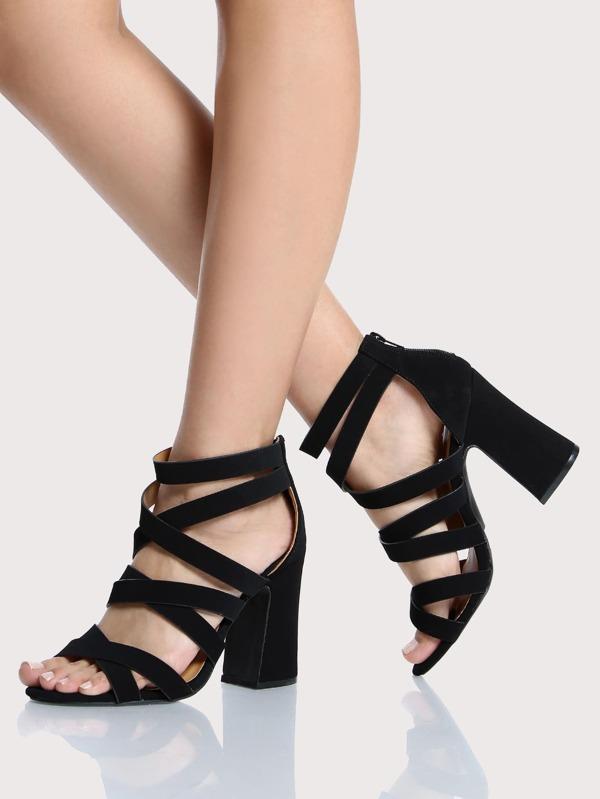 Strappy Chunky Heels BLACK -SheIn(Sheinside)