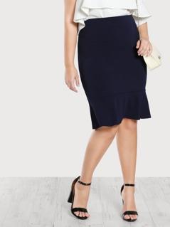 Rufffle Hem Bodycon Skirt BLUE