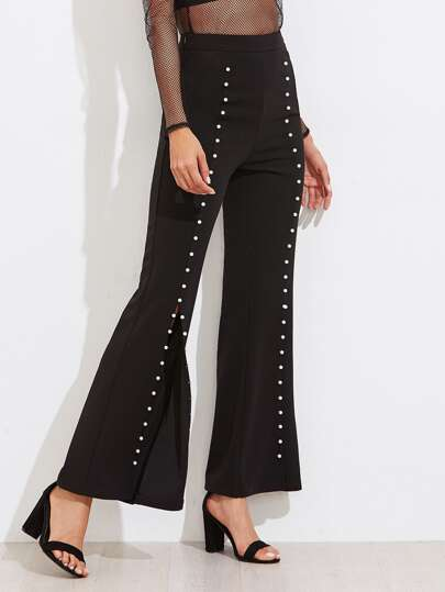 Pearl Beading Split Front Flare Pants