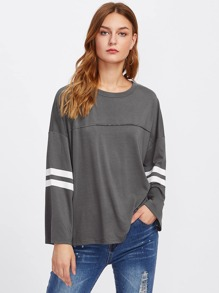 Drop Shoulder Varsity Striped Boxy Tee