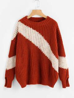 Two Tone Slit Cuff Drop Shoulder Sweater
