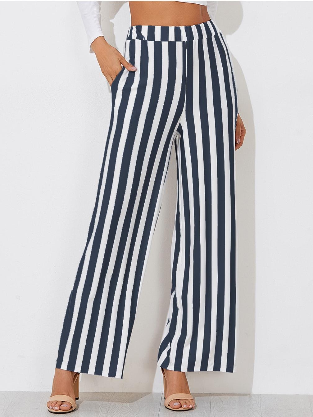 Block Striped Wide Leg Pants
