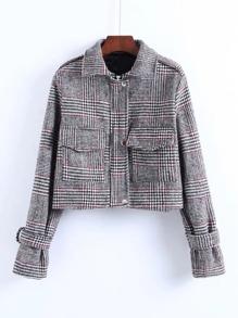 Front Pocket Houndstooth Jacket