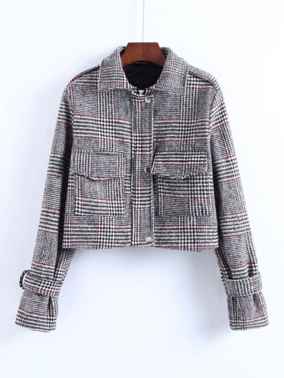 Front Pocket Houndstooth Jacket