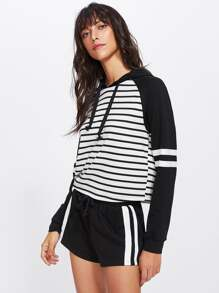 Two Tone Striped Hoodie & Shorts Set