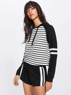 Two Tone Striped Hoodie & Shorts Set
