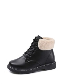 Faux Shearling Lace Up Ankle Boots